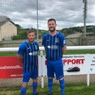Pilton players Alex Davey and Ben Paul in the new kit sponsored by Toptown Printers. Picture: Alex B