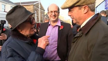 """A man in Ebbw Vale, Wales, told Nigel Farage """"you haven't got the courage"""" to stand as an MP. Pictur"""