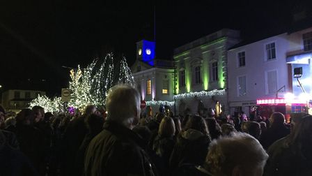 Huge crowds gather in South Molton square for the annual Christmas lights event. Picture: SMTC