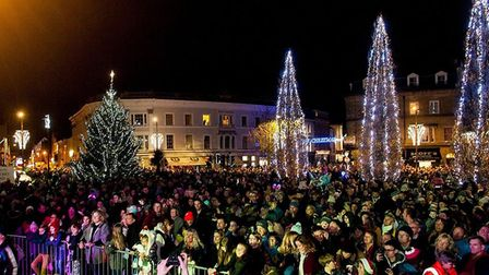 The crowd gathers for the Christmas lights switch on in Barnstaple. Picture: contributed