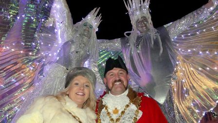 Mayor and mayoress Dermot and Sarah McGeough at Bideford Christmas lights on Sunday. Picture: Graham