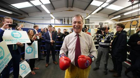 Brexit Party leader Nigel Farage attends an election campaign event at Bolsover Boxing Club. (Photo