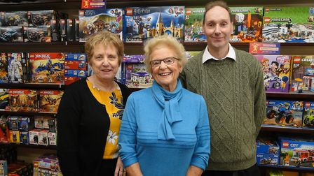 Manager and toy buyer Nicky Tossell; owner Mary Youings; and model shop manager Graham Bice at Youin