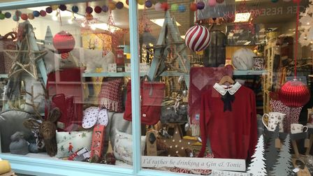 Coast and Country in Gammon Walk has a lovely festive window.