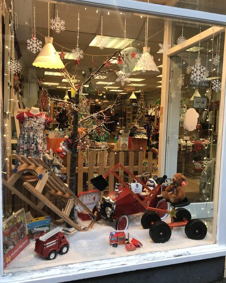 Little You has a lovely Christmas scene in their window.