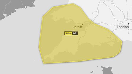 The weather warning for the South West on Tuesday. Picture: Met Office