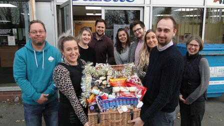 Staff from the North Devon Gazette office with donations collected for the appeal. Picture: Sarah Ho
