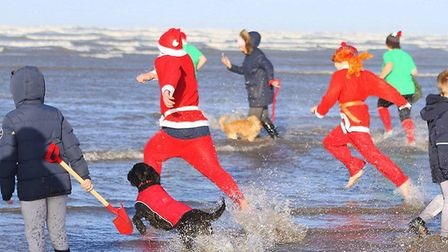 The New Year's Day dip in Westward Ho! Picture: Martin Mullins