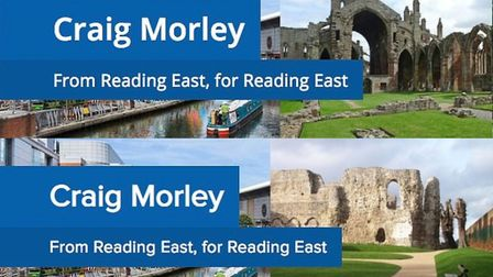 The upper image, which appeared on Morley's website, featured Melrose Abbey in Scotland, before it w