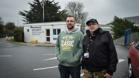 GMB union rep Jake McClean and Barry Hooper of Unite the Union. Barry has worked at Appeldore Shipya