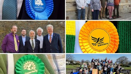 The parties standing in the district elections clockwise from top left: Conservative, Labour, Libera