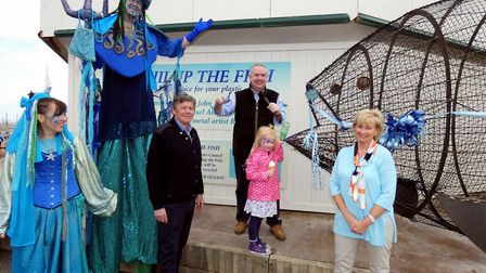 The official unveiling of Phillup the plastic eating fish with Geoffrey Cox MP at Westward Ho! on Sa
