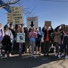 Young people gathered on Bideford Quay as part of the Youth Strike 4 Climate event in February this
