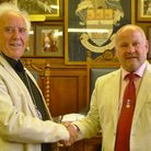 New mayor Peter Christie with outgoing mayor Doug Bushby.