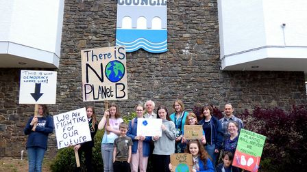 The climate strike in Bideford today (Friday, May 24). Picture: Graham Hobbs