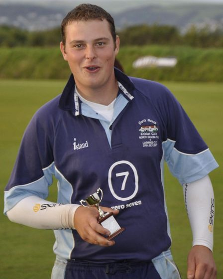 North Devon''s Matt Dart with the man of the match award after his four-wicket haul helped defeat Pl