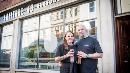 Latitude 48 owners Liam and Lucy Fairlie outside the new Barnstaple High Street bar. Picture: Indigo