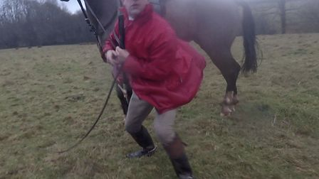 Eggesford huntmaster Jason Marles confronts a protester, as filmed by her Go Pro camera. Picture: De