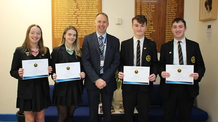 Park School students who have achieved a 100 per attendance record. Pictured are Laura Swales, Ellie