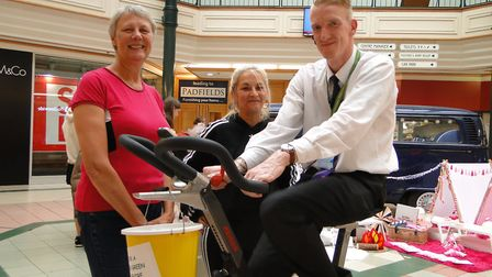 Liz Howells, volunteer Michelle Hill and Wayne Stevens at the big cycle in Green Lanes Barnstaple to