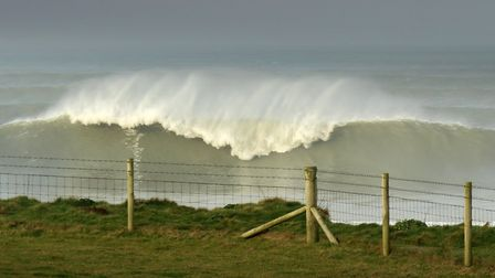 Big waves at Croyde earlier this year. Picture: Simon Stuart