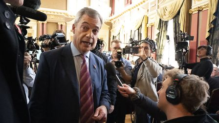 Brexit Party leader Nigel Farage answers media questions. Photograph: Owen Humphreys/PA Wire.