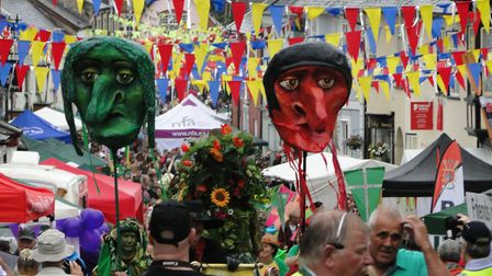 The Green Man procession makes its way from Barnstaple Square to Pilton on Saturday morning. Picture