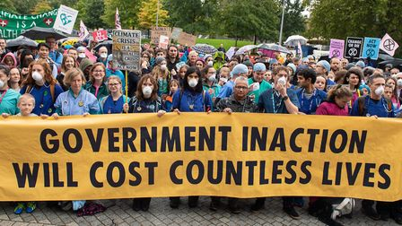 Doctors gather to protest in support of Extinction Rebellion in, London, to highlight deaths caused