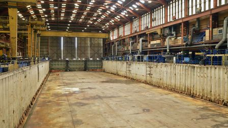 Inside the now-closed Appledore Shipyard. Picture: Raymond Goldsmith