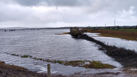The inner Great Bank at Horsey Island, Braunton, pictured after high tide had receded on Tuesday mor