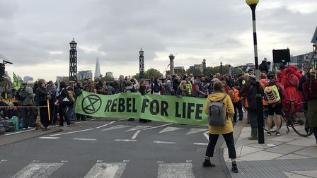 South West and North Devon Extinction Rebellion members occupying Lambeth Bridge in London. Picture: