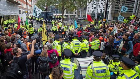A sizeable police presence outside the Home Office, Marsham Street, during an Extinction Rebellion (