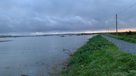 The tide is expected to breach the inner bank at Horsey Island in Braunton this evening (September 3
