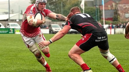 Barnstaple captain Winstone James in action against Camborne in the South West Premier. Picture: Bob