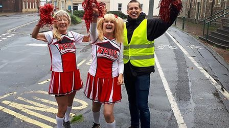 Cheerleaders were on hand to encourage the runners in the Jewson Barnstaple Marathon 2019. Picture: