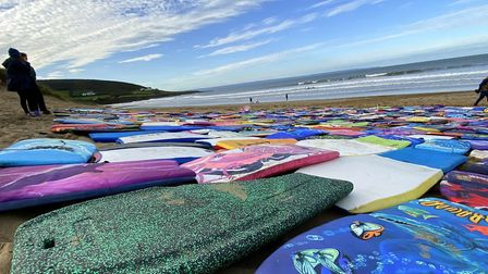 The abandoned bodyboards at Croyde Bay. Picture: Matt Smart