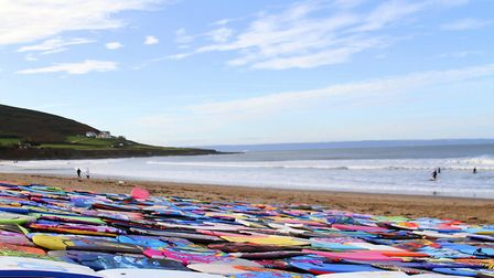 Some 300 bodyboards were collected at Croyde Bay over the summer. Picture: Matt Smart