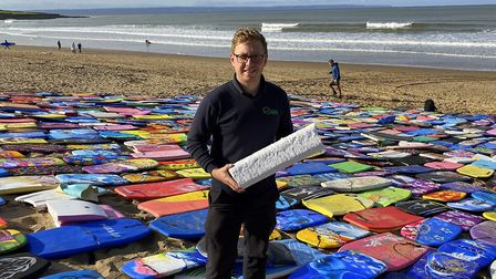 SWM Recycling's Phil Akers with the sort of insulation block the bodyboards can be turned into . Pic