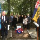 Relatives gathered for the memorial service to the crew of the wartime bomber that crashed at St Gil