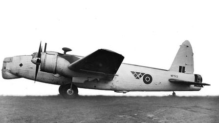 A Vickers Wellington bomber like the one from Coastal Command that crashed at St Giles in the Wood o