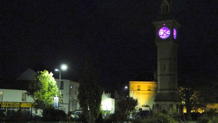 The Albert Clock in Barnstaple is lit up to mark Baby Loss Awareness week from October 9-15, 2019. P