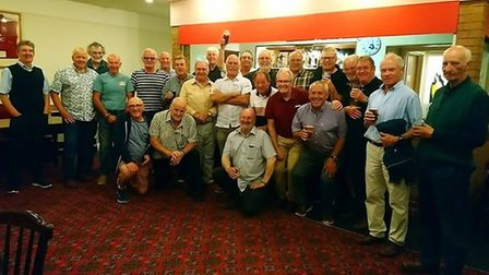 The class of 69 from Barnstaple Boys Secondary Modern at their sumnmer reunion at Barnstaple Rugby C