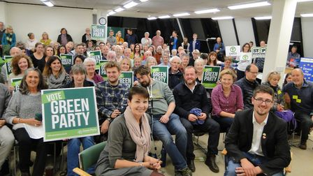 Caroline Lucas MP with North Devon Green Party parliamentray candidate Robbie Mack and local party s