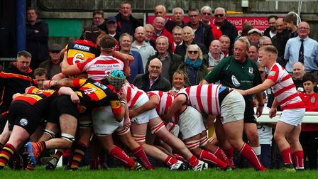 Bideford forwards get the driving maul going in front of the home supporters. Picture: Kevin Crowl