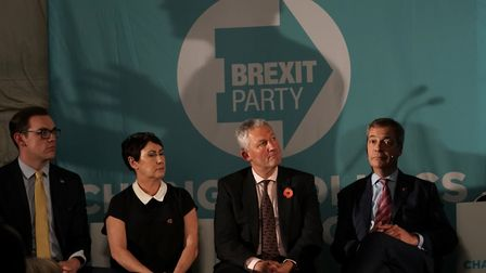 Brexit Party leader Nigel Farage (right) at a party rally in Sedgefield. Photograph: Owen Humphreys/