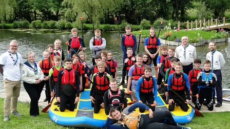 Taw Explorer and 1st Ilfracombe Scouts members with the new paddleboards and equipment. Picture: Ton