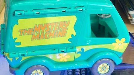 Stolen from The Shop Eclectic: Scooby Doo Mystery Machine signed by Matthew Lillard (Shaggy). Pictur