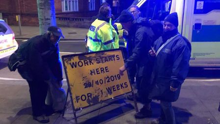 Bideford Street Pastors used a roadworks sign to help rescue someone from the river. Picture: Devon