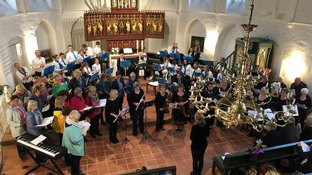 The joint concert given by Barnstaple and Uelzen choirs at a church in Germany.