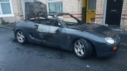 One of the cars gutted by fire in Newport, Barnstaple. Picture: North Devon News